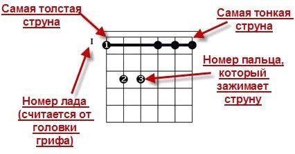 аппликатура для гитары