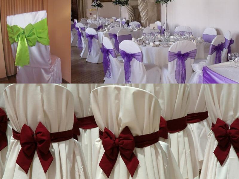 Декор стульев банкетного зала на свадьбе